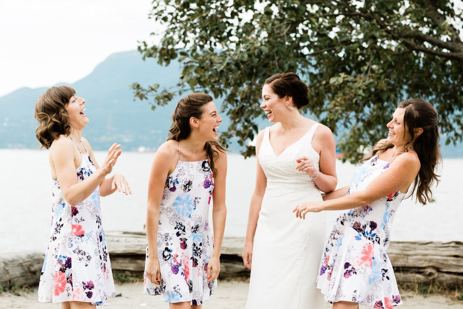 Bride and her brides mates, Wedding ceremony on Spanish banks | Vancouver wedding photographer, Spanish Banks Wedding