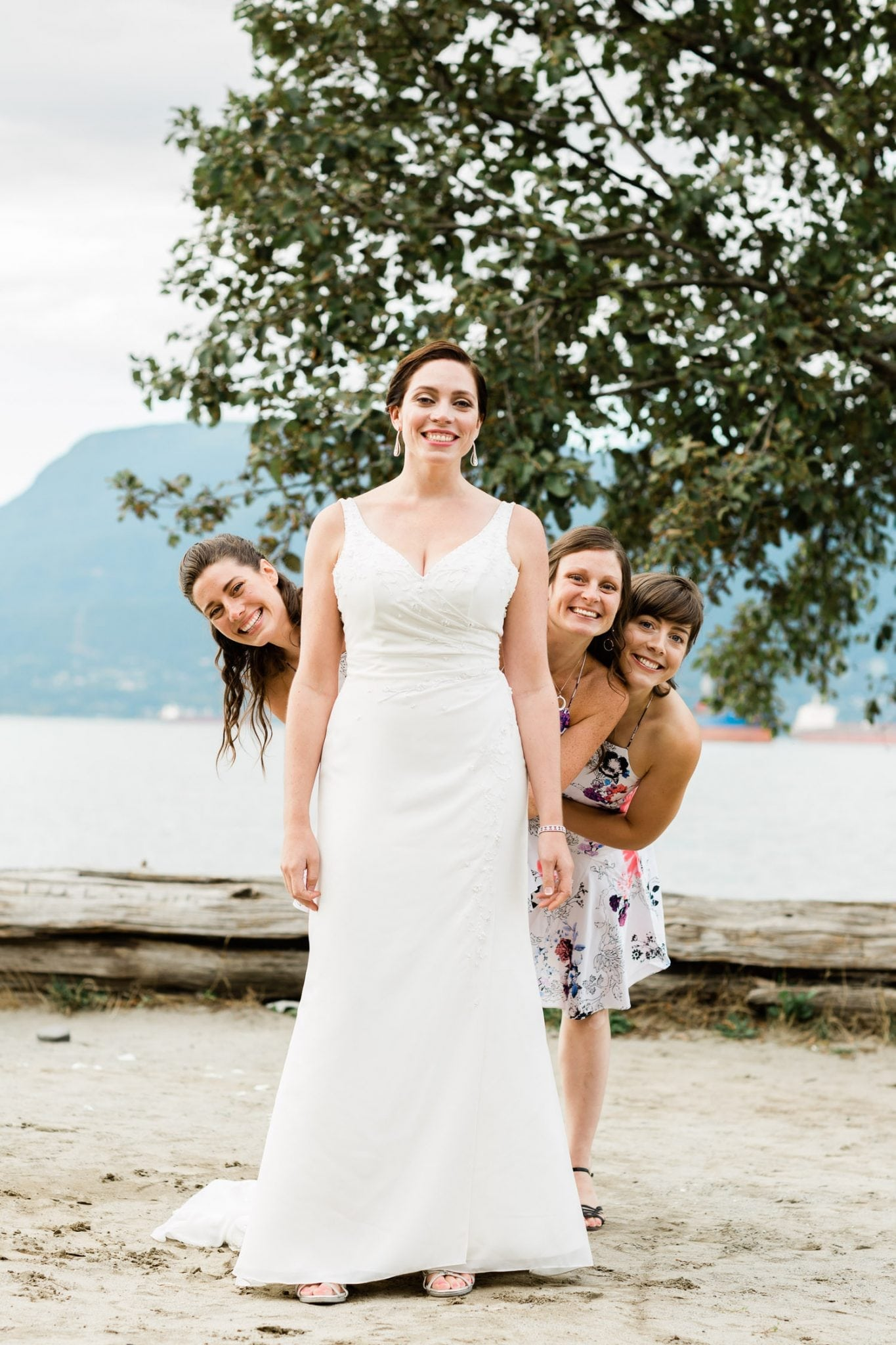 Bride and her brides mates, Wedding ceremony on Spanish banks | Vancouver wedding photographer