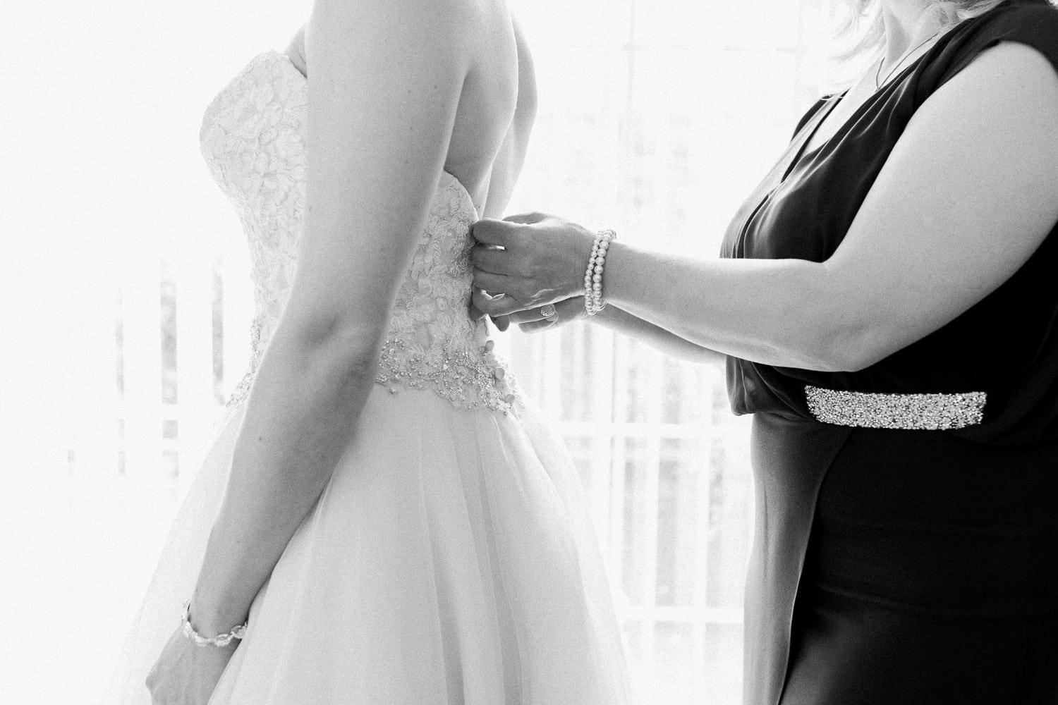 Bride and her mother during morning prep | Vancouver wedding photographer | Westwood Plateau Golf Club Wedding