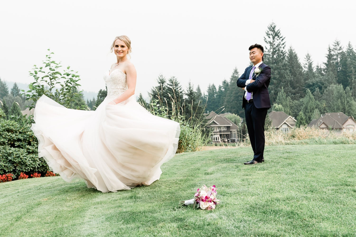 Bride and groom portrait | Vancouver wedding photographer | Westwood Plateau Golf Club Wedding