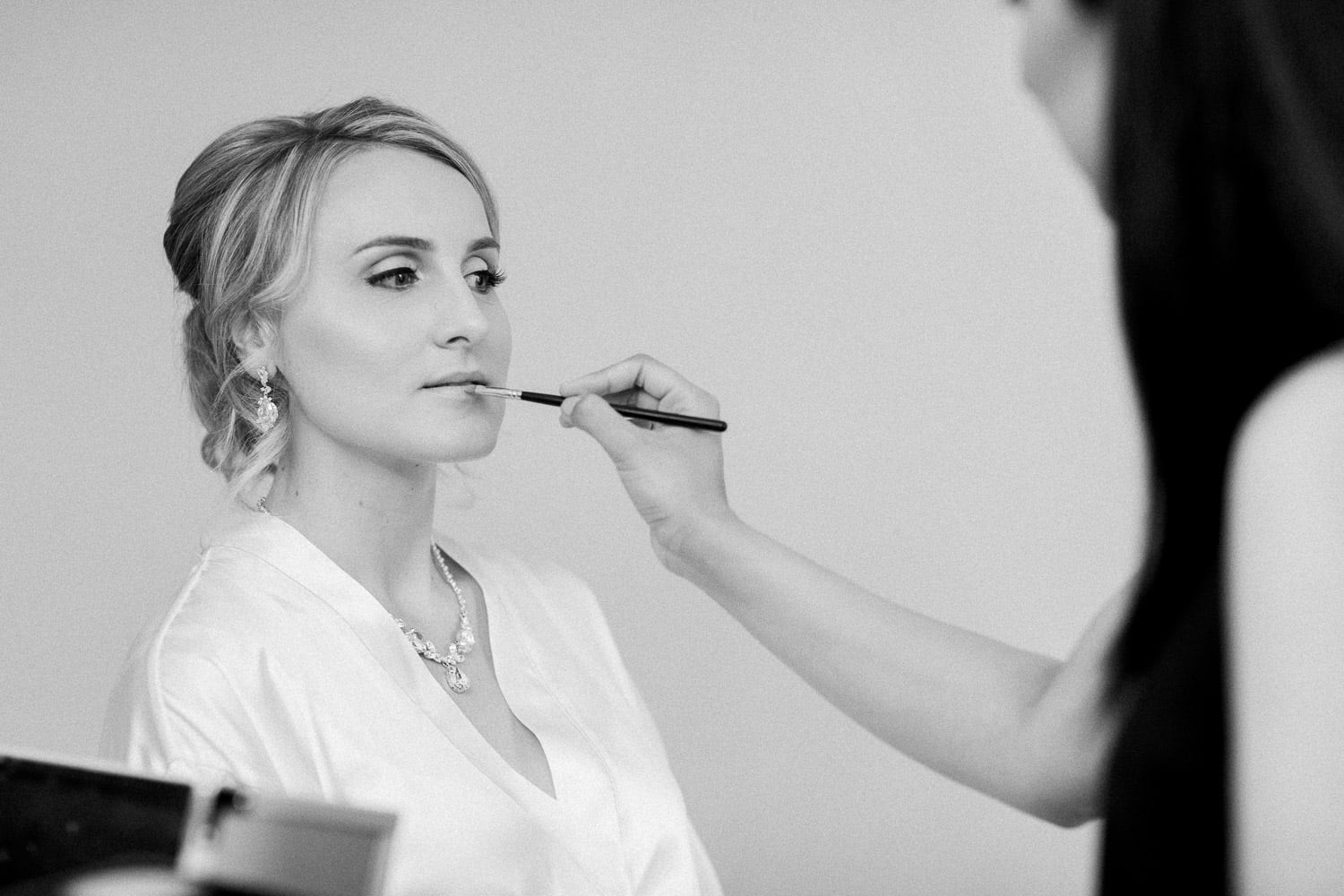 Bride during her morning prep in b/w | Vancouver wedding photographer | Westwood Plateau Golf Club Wedding