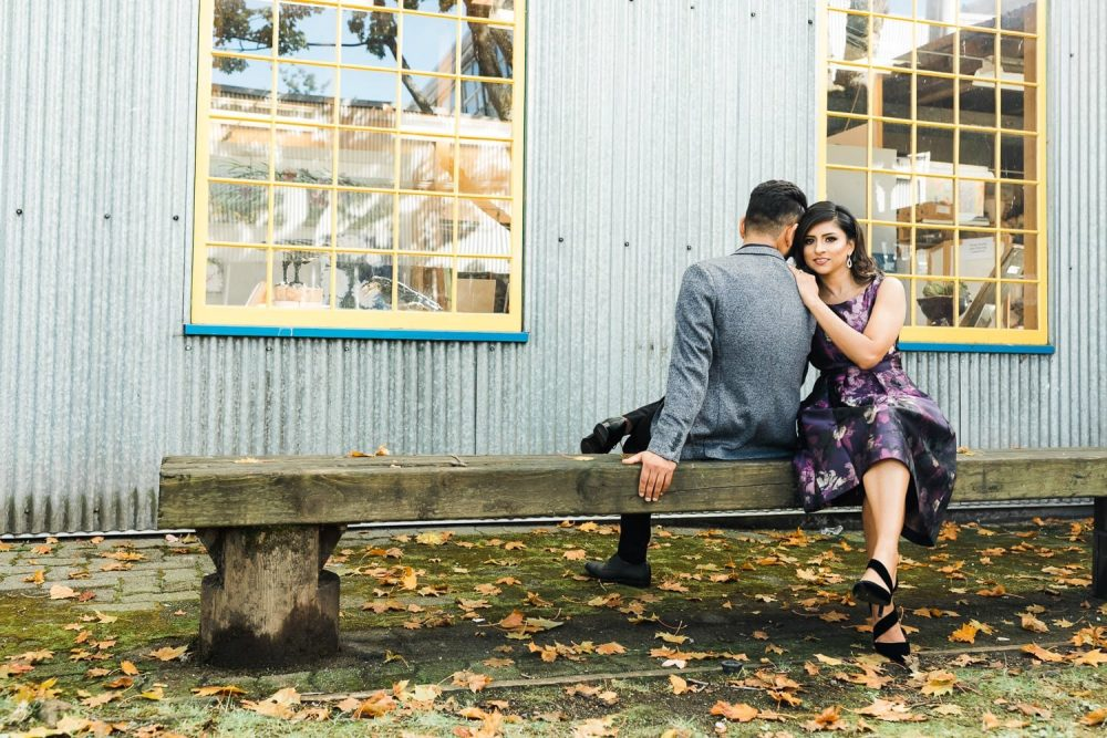 Indian couple engagement photo on Granville Island | Vancouver Indian wedding photographer