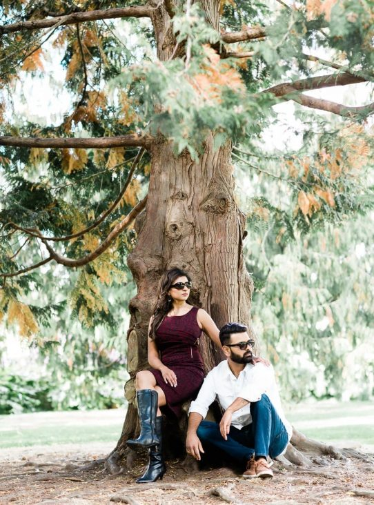 couple engagement photo on Granville Island