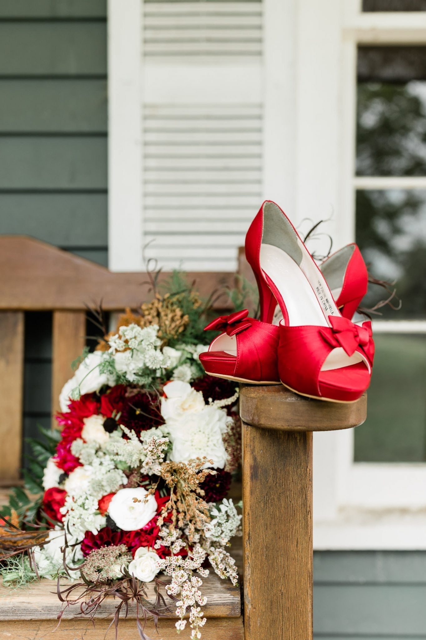 Wedding shoes and bouquet rustic style | Vancouver wedding photographer