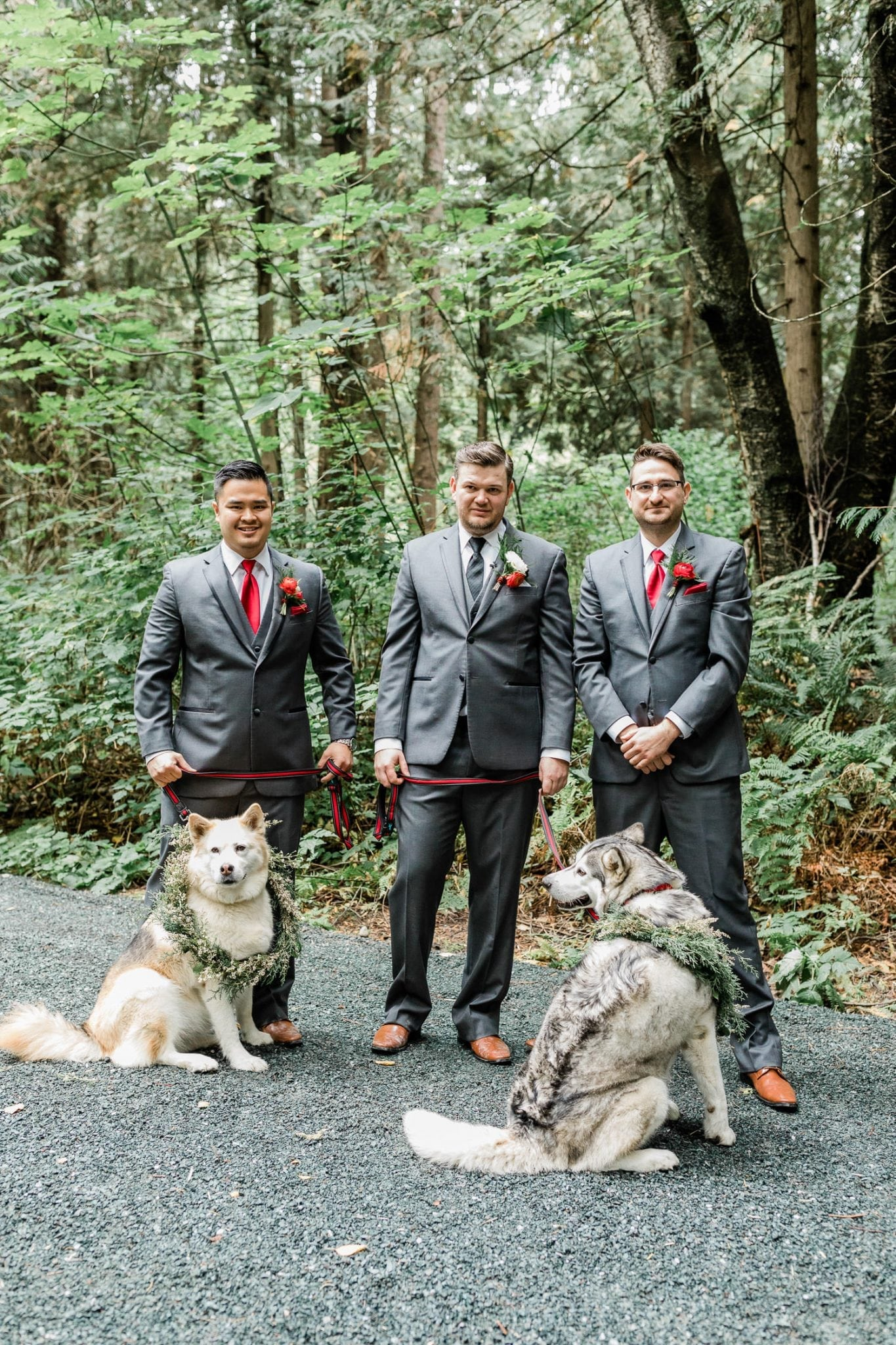 Groomsmen before the ceremony with dogs | Vancouver wedding photographer