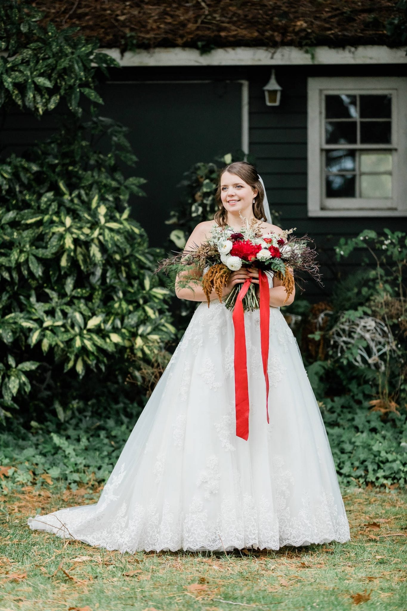 Rustic backyard wedding picture with bride | Vancouver wedding photographer