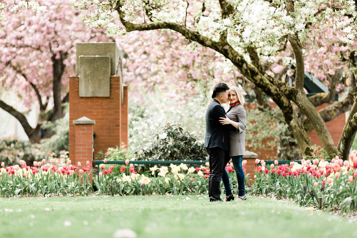 engaged couple standing under cherry blossoms holding hands, photographed by wedding photographer