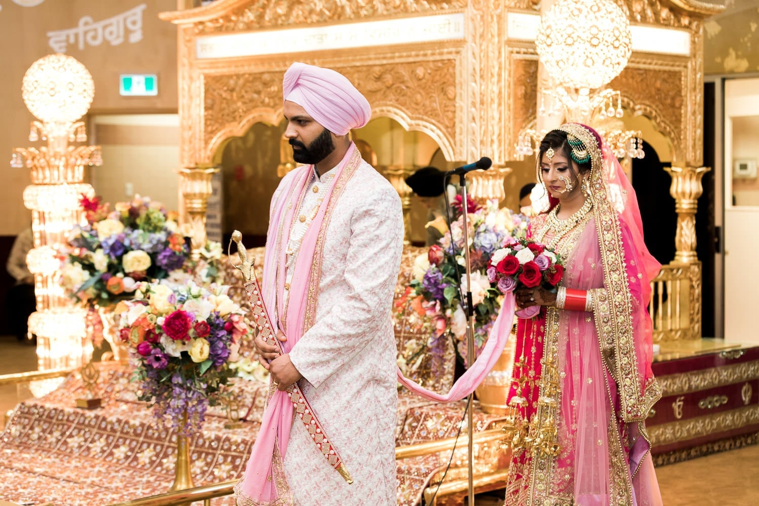Indian bride and groom at the temple | Indian wedding photography Vancouver