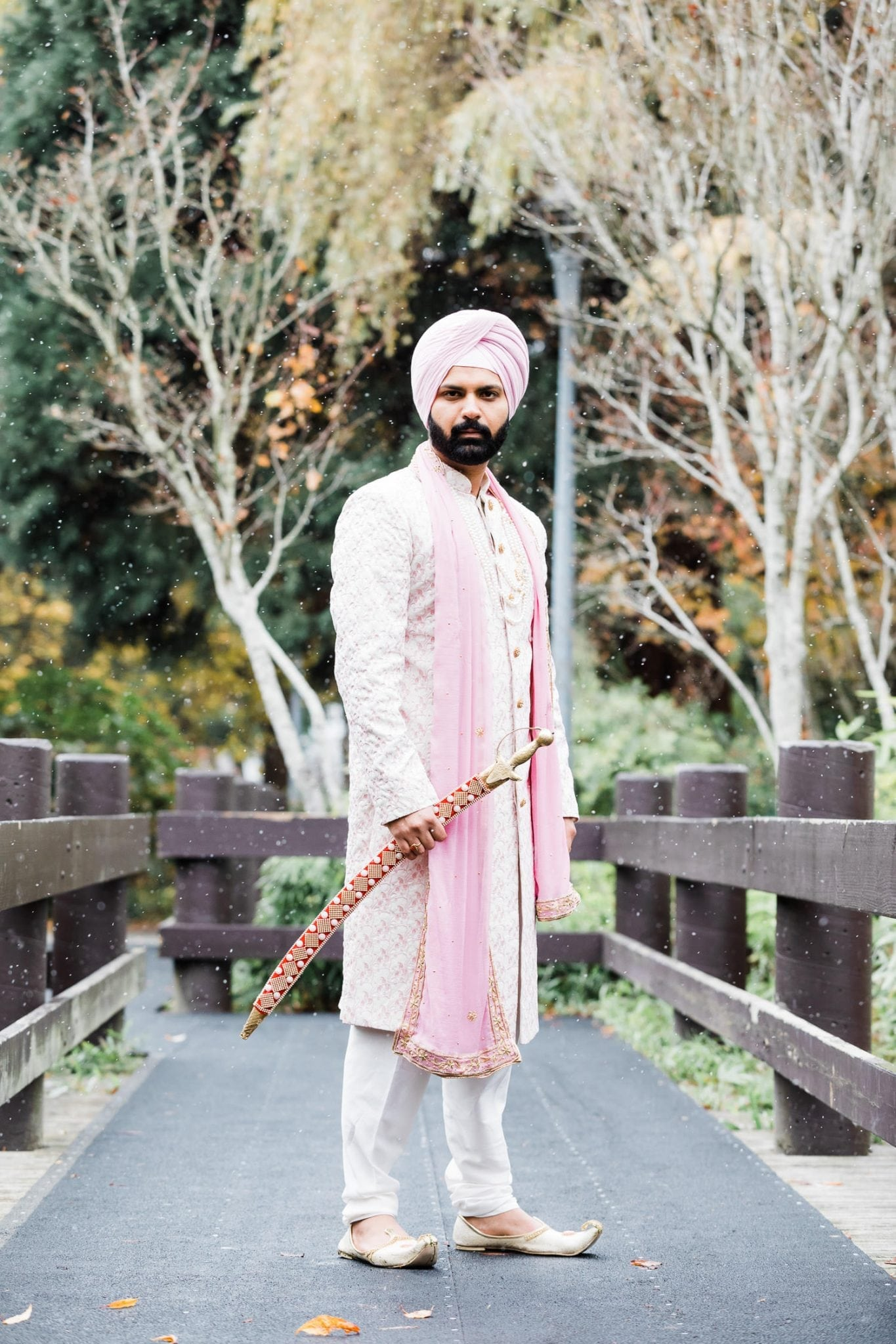 Indian groom portrait in Minoru park, Richmond   Vancouver Indian Wedding Photographer