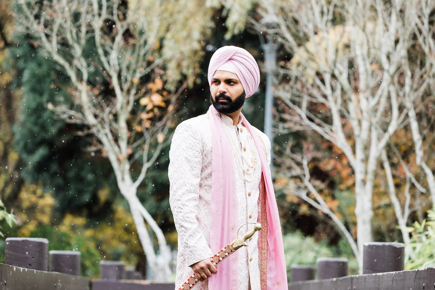 Indian groom portrait in Minoru park, Richmond | Vancouver Indian Wedding Photographer