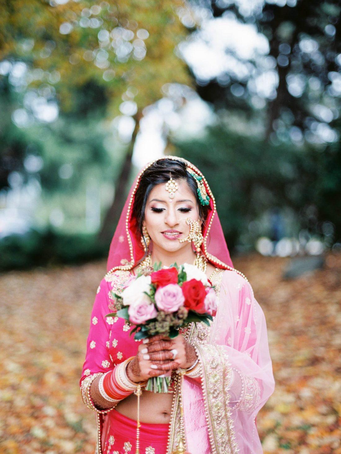 Indian bride portrait in Minoru park, Richmond with Vancouver Indian Wedding Photographer