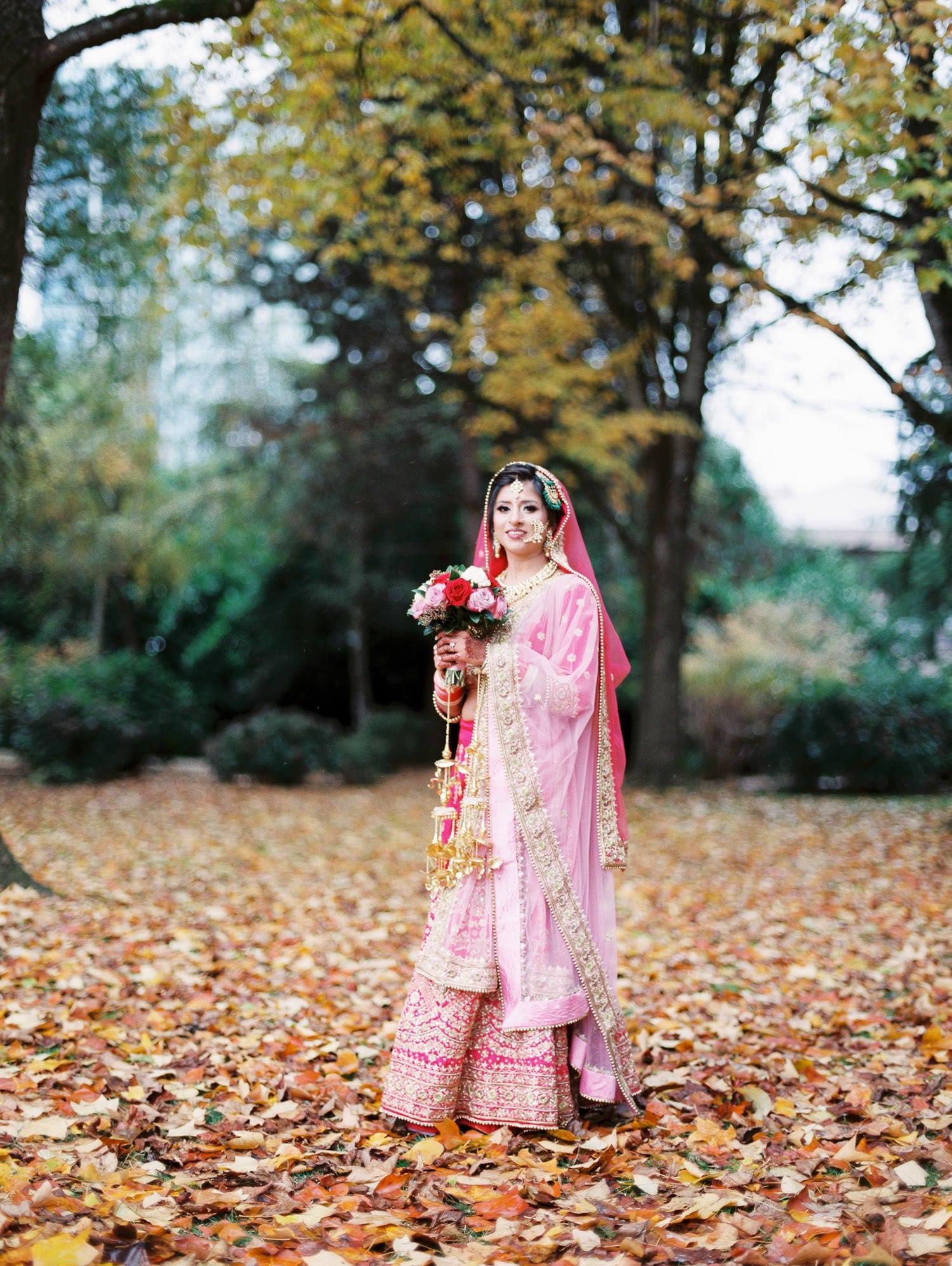 Indian bride portrait in Minoru park, Richmond | Vancouver Indian Wedding Photographer
