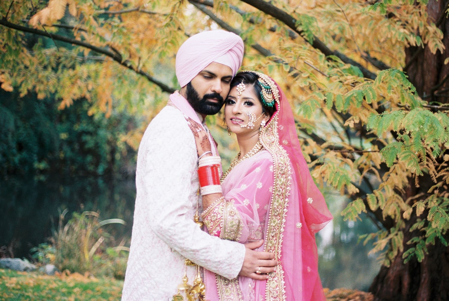 Indian bride and groom portrait in Minoru park, Richmond   Vancouver Indian Wedding Photographer