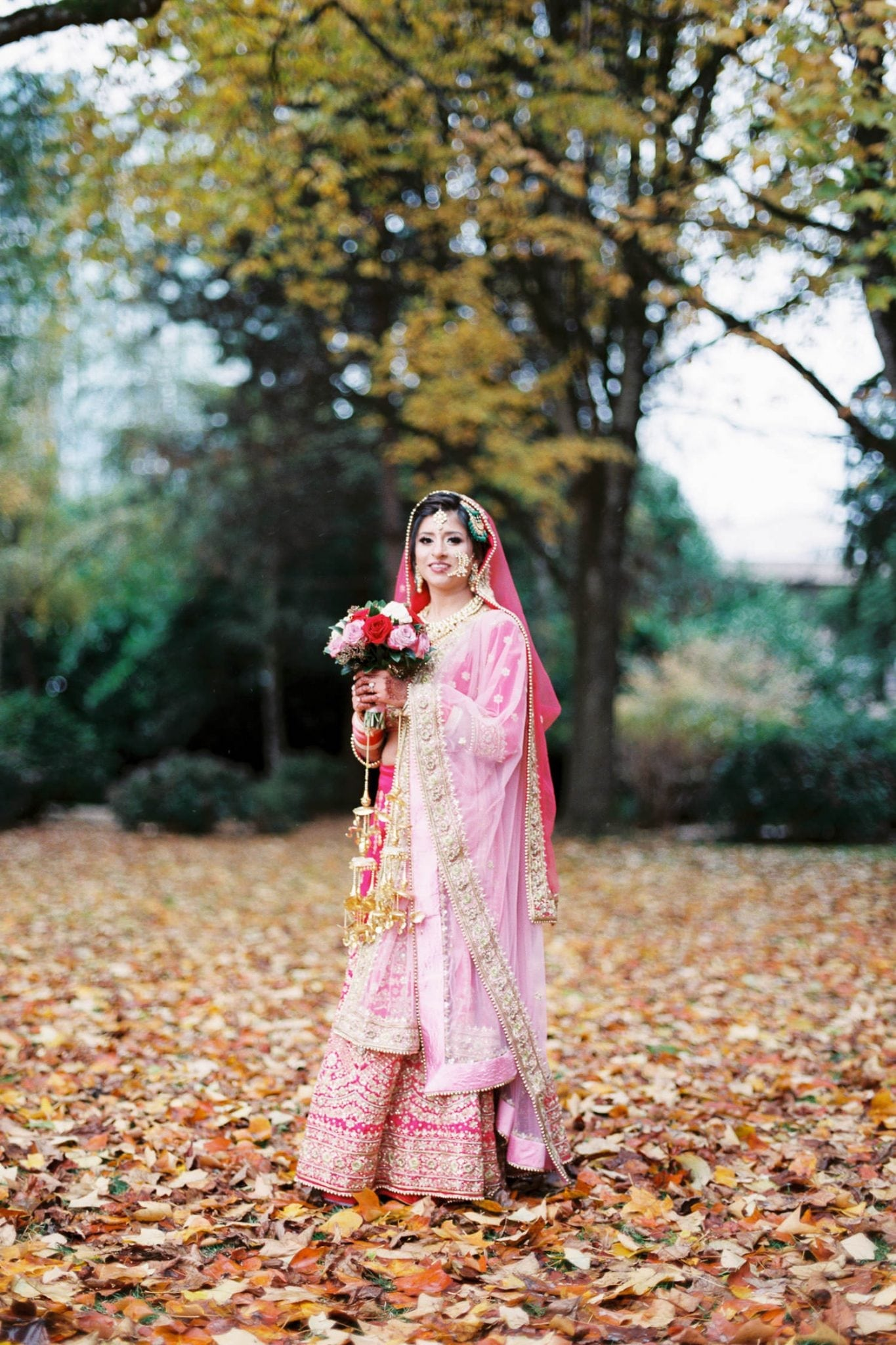 Indian bride portrait in Minoru park, Richmond | Vancouver Indian Wedding Photographer