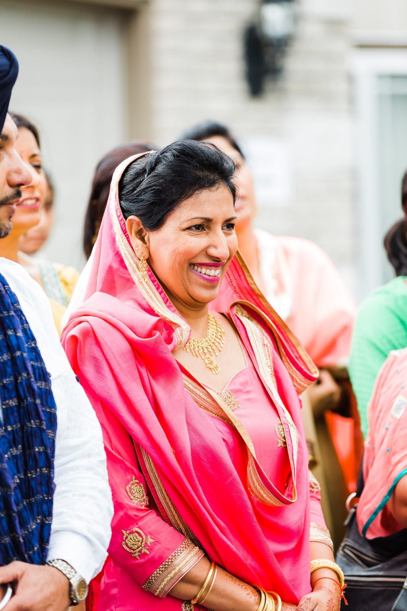 Mother is smiling, Indian and Norwegian wedding | Vancouver Indian wedding photographer