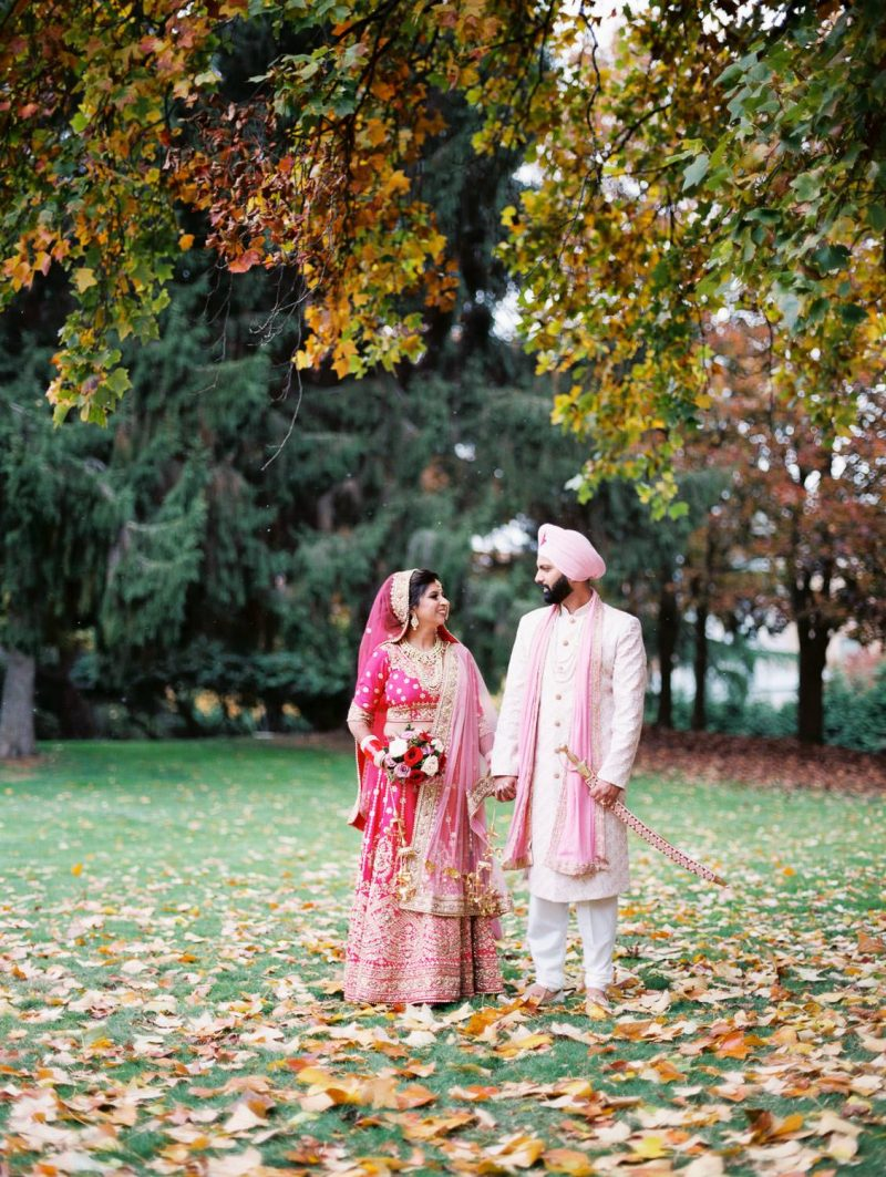 Indian bride and groom posing, Vancouver Indian wedding photographer