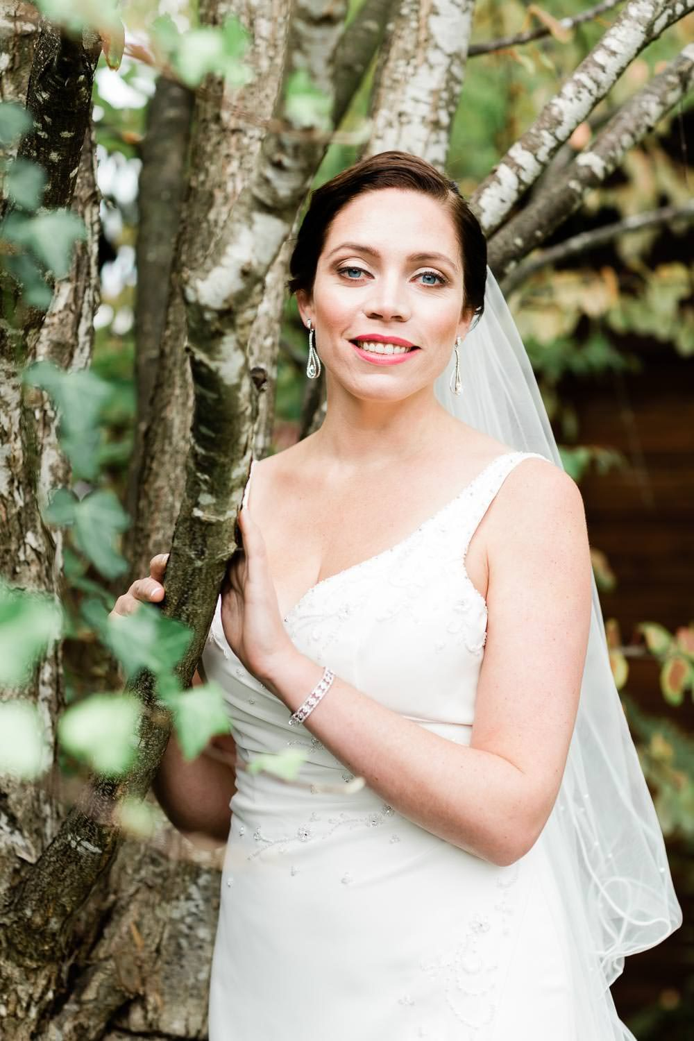 Portrait of a bride by the birch tree | Vancouver wedding photographer