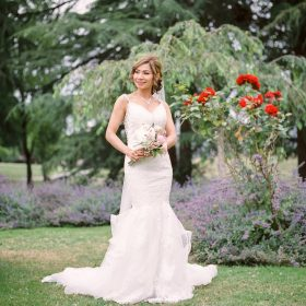 Bride posing in Minoru park | Vancouver wedding film photographer