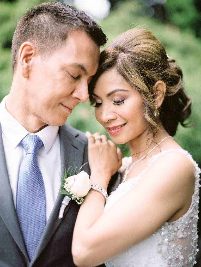 Bride and groom posing   Vancouver film wedding photographer