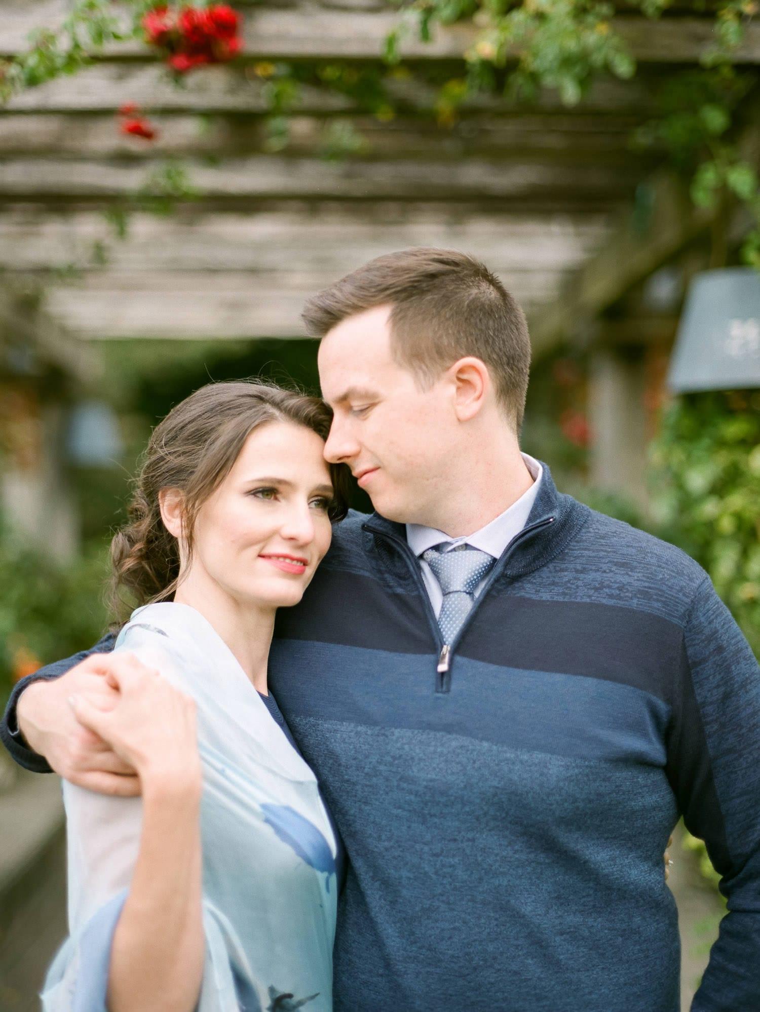 Engagement photo at UBC Rose Garden   Vancouver Fine Art Wedding Photographer