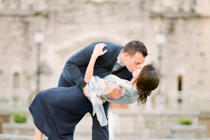 Engagement photo at UBC Rose Garden | Vancouver Fine Art Wedding Photographer