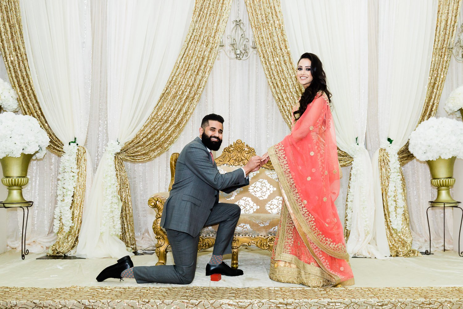 Indian couple getting engaged