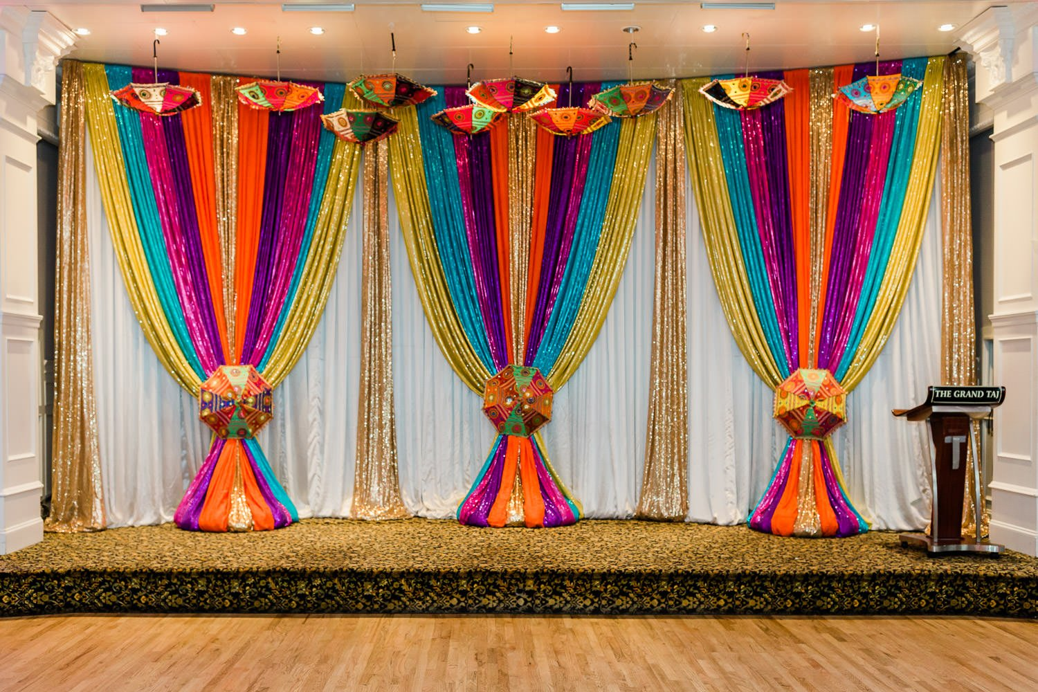 hall decorated for Lohri