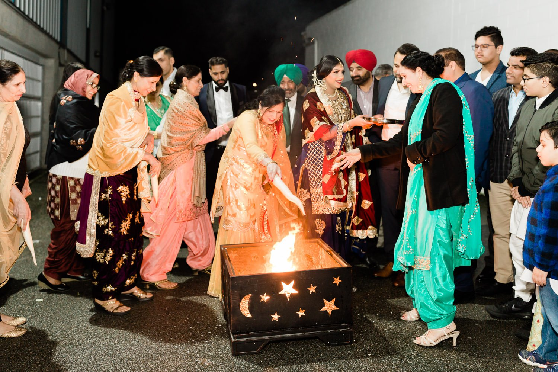 bonfire during Lohri ceremony