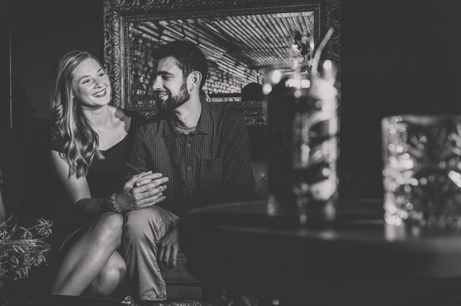 couple laughing and looking at each other